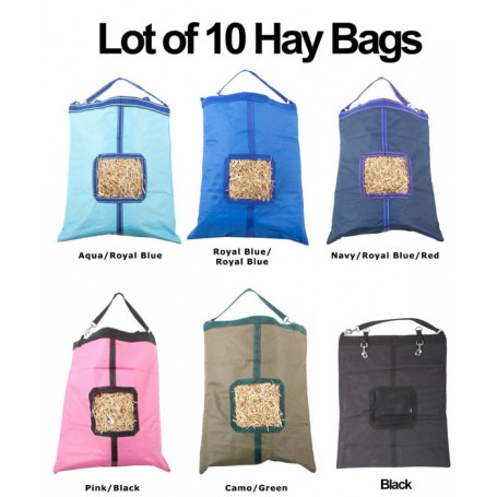 Lot of 10 Horse Top Load Hay Bag Bags Blue Pink Black Green