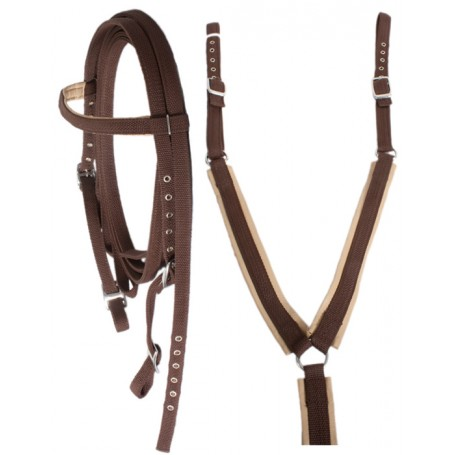 Brown Horse Nylon Headstall Western Bridle Reins Breast Collar