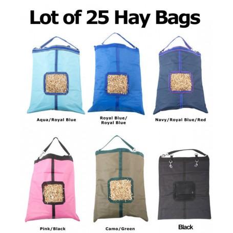 Lot of 25 Horse Top Load Hay Bag Bags Blue Pink Black Green