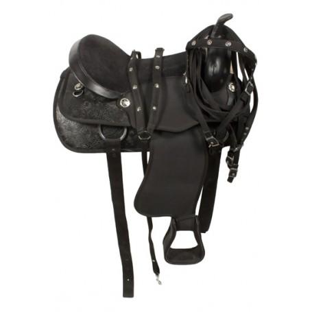 Fancy Black Duraleather Cordura Synthetic Horse Saddle 17
