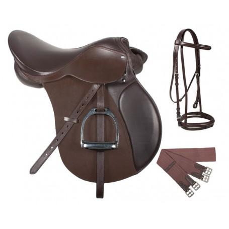 Premium All Purpose Brown Leather English Jumping Saddle Narrow