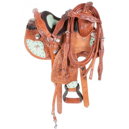 Turquoise Blue Western Mini Horse Saddle 10