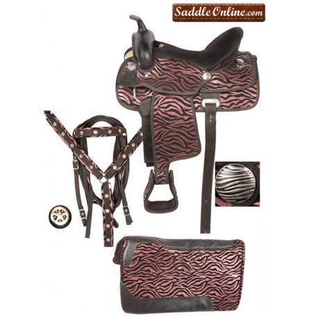Pink Zebra Synthetic Pony Saddle Tack Package 12.5 13.5