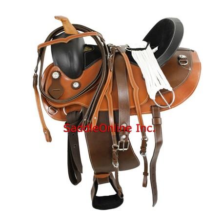 Two Tone Round Skirt Trail Saddle w Tack
