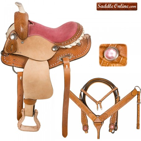 Pink Crystal Leather Round Skirt Youth QH Barrel Saddle