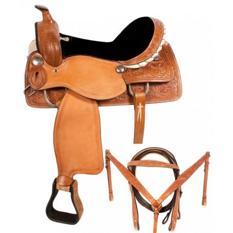 Tooled Western Leather Barrel Racing Saddle 14