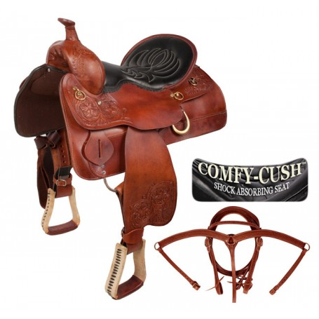 Premium Padded Leather Western Trail Saddle 16