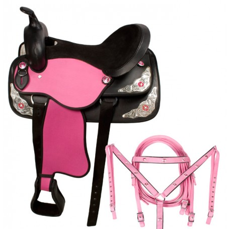 Pink Western Synthetic Star Horse Saddle 14 17