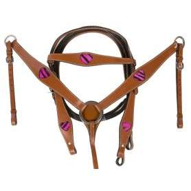 Pink Zebra Hair On Hide Heart Headstall Breast collar