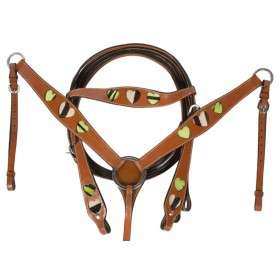 Green Hair on Hide Leather Headstall Breast Collar Tack