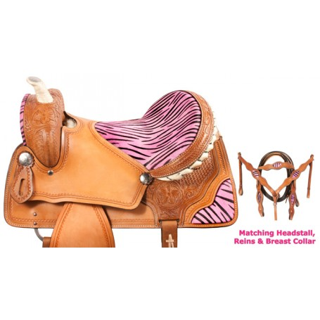 Pink Zebra Barrel Racing Saddle Western Tack  16