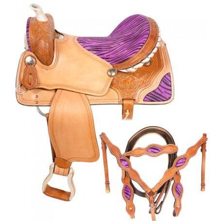 Purple Zebra Barrel Racing Saddle Western Tack 16