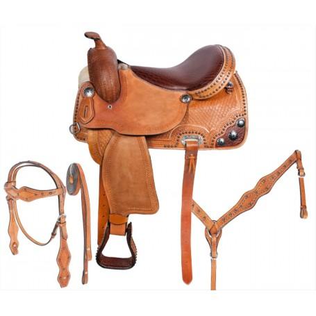 Brown Gator Western Leather Barrel Horse Saddle 14 16
