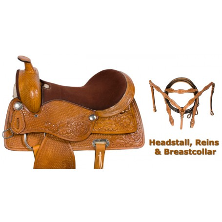 Brown Western Pleasure Trail Horse Leather Saddle 17