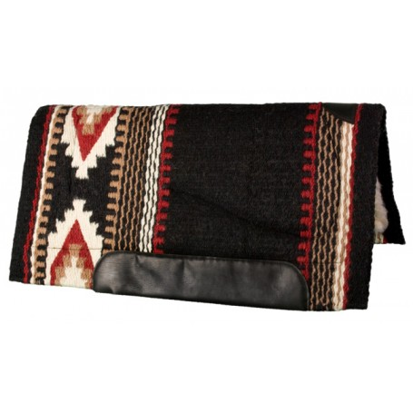 Black Red and White Premium NZ Wool Fleece Western Saddle Pad