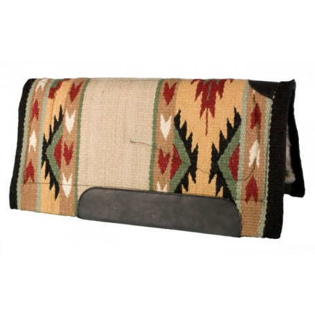 Tan Green Red Yellow  Premium NZ Wool Fleece Western Saddle Pad