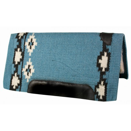 Lt Blue Black  White Premium NZ Wool Fleece Western Saddle Pad