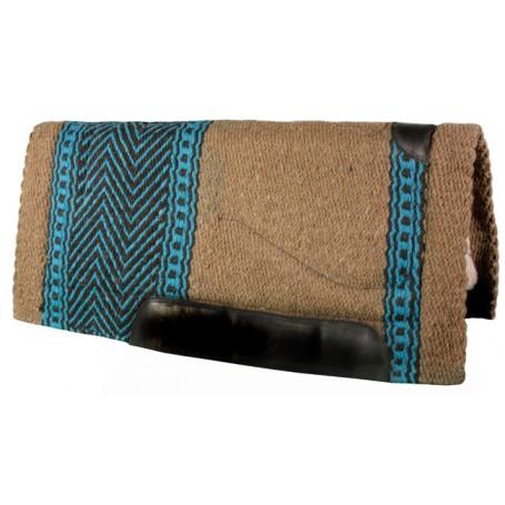 Lt Brown Blue Black Premium Wool Fleece Western Saddle Pad