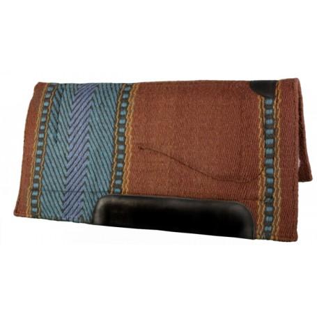 Brown Blue Teal Premium NZ Wool Fleece Western Saddle Pad