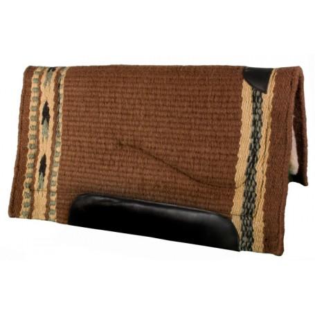 Brown Green Yellow Premium Wool Fleece Western Saddle Pad