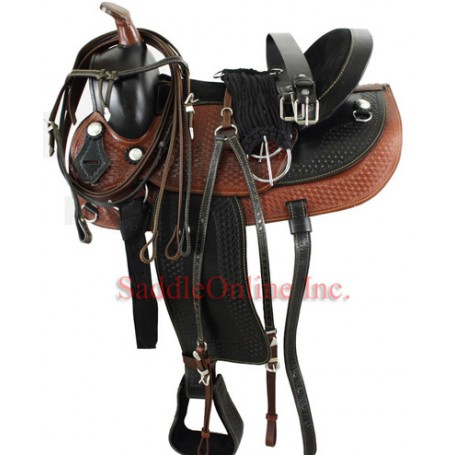 15 Stunning Two Tone Hand Tooled Saddle W Tack.
