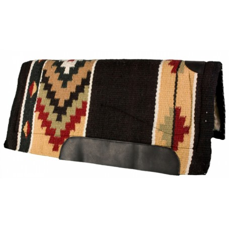 Black Yellow Red and Green Quality Wool Western Horse Saddle Pad