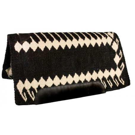 Black and White Heavy Duty NZ Wool Western Horse Saddle Pad