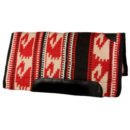 Red Black & Tan Heavy Duty NZ Wool Western Horse Saddle Pad