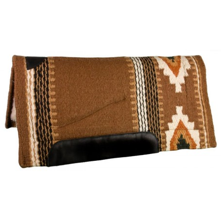 Warm Brown Black Heavy Duty Wool Western Horse Saddle Pad