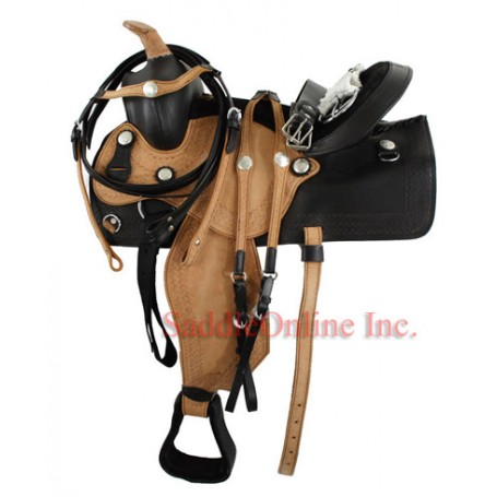 Natural Two Tone Western Trail Saddle W Tack.