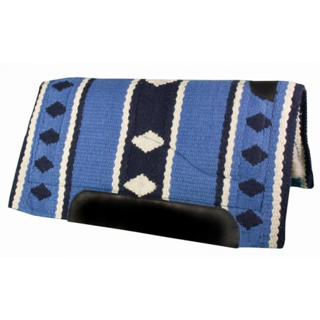 Lt. Blue Navy White Heavy Duty Wool Western Horse Saddle Pad