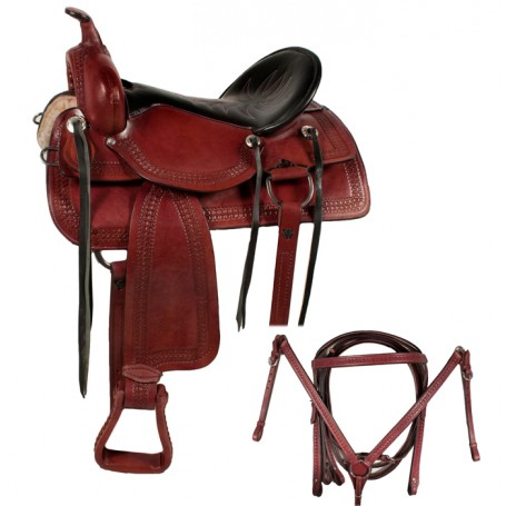 Old West Comfortable Trail Horse Leather Saddle 17