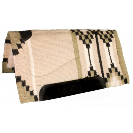 Tan, Olive Green, Heavy Duty NZ Wool Western Horse Saddle Pad