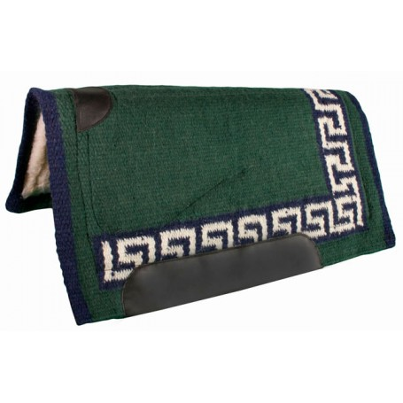 Green, Navy, and White Heavy Duty Wool Western Horse Saddle Pad