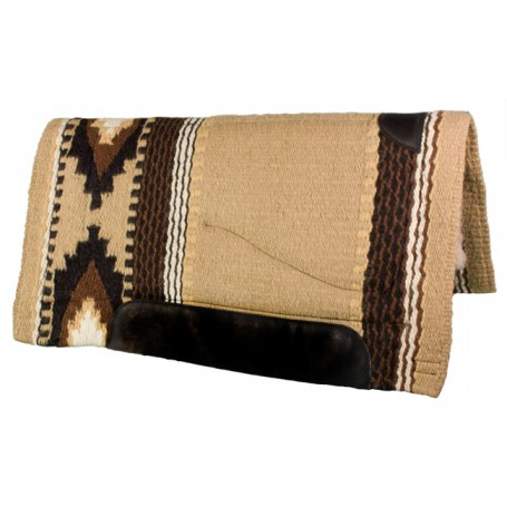 Tan with Black & Brown Heavy Duty Wool Western Horse Saddle Pad
