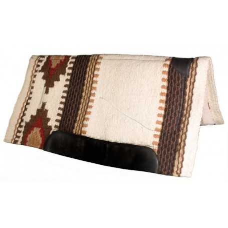 Cream, Black & Red Heavy Duty Wool Western Horse Saddle Pad
