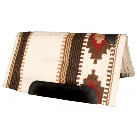 Cream, Brown&Red Heavy Duty Wool Western Horse Saddle Pad