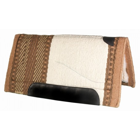 Off-White & Brown Heavy Duty Wool Western Horse Saddle Pad
