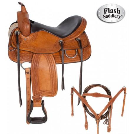 Premium Western Pleasure Trail Horse Leather Saddle 18