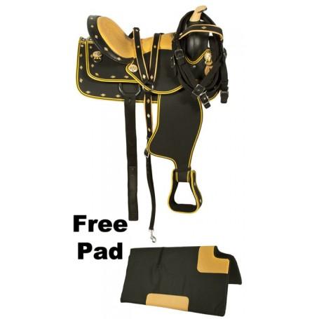 Black Orange Western Synthetic Horse Saddle 14
