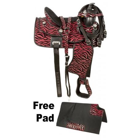 Red Black Zebra Western Synthetic Horse Saddle 16