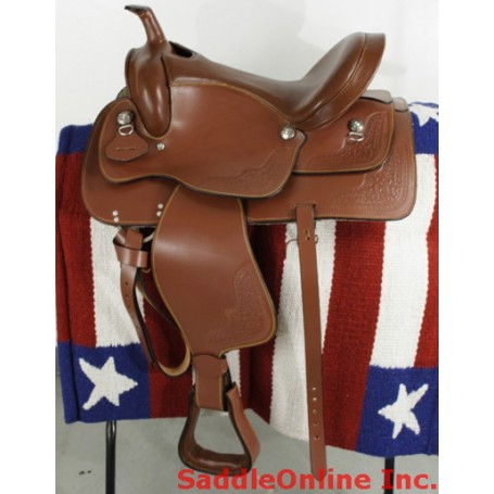 New 16 Brown Trail Leather Western Horse Saddle