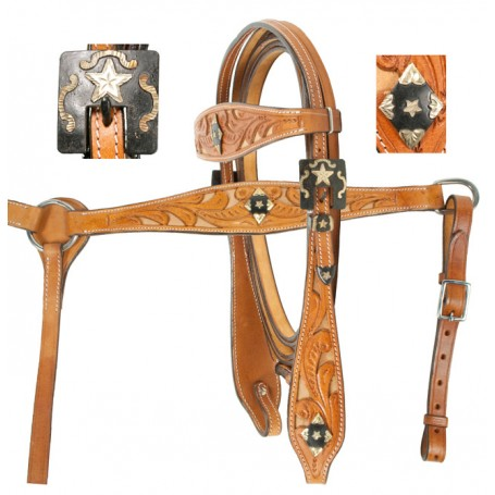 Western Leather Headstall Reins Breast Plate Filigree Tack