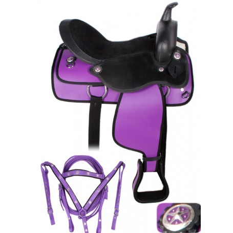Purple  Black Western Synthetic Horse Saddle Tack 14