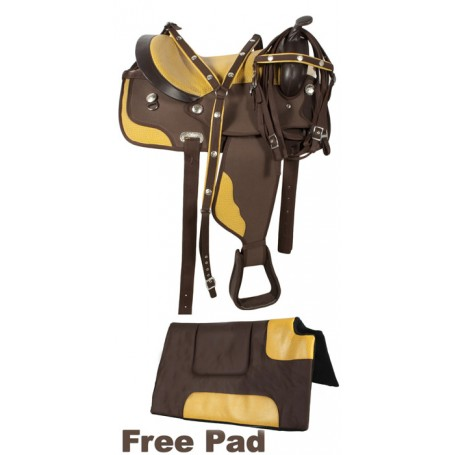 Brown Gator Light Weight Synthetic Saddle 16 17