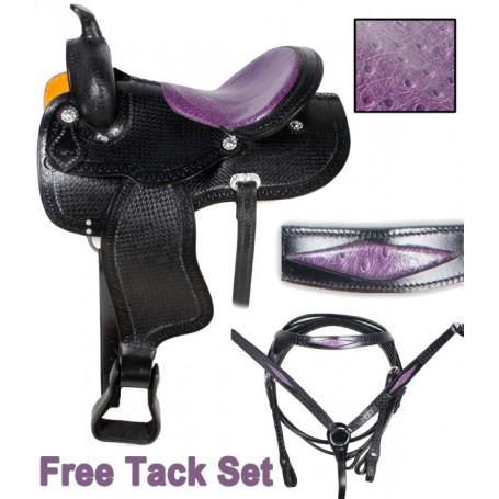 Western Purple Ostrich Barrel Racing Horse Saddle 17