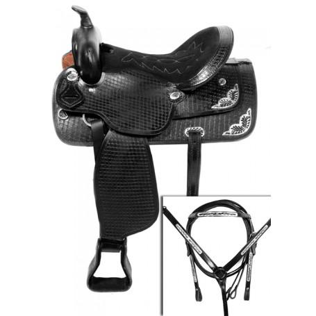 Black Western Tooled Show Horse Saddle Tack 16 18