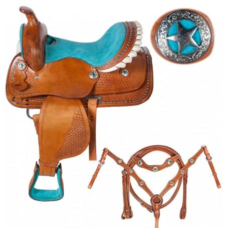 Youth Kids Pony Star Turquoise Seat Saddle 10