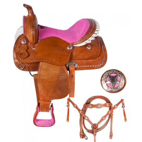 Youth Pony Kids Pink Crystal Leather Saddle 10 12