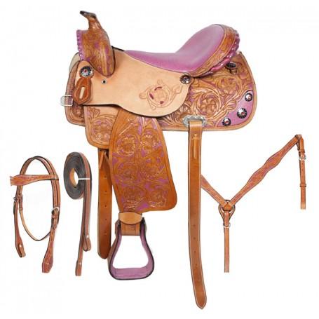 Pink Inlay Western Barrel Racing Horse Saddle Tack 16